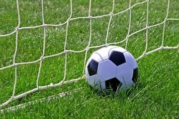 Ein Fußball liegt auf einem Rasenplatz im Tornetz.
