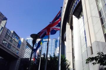 Bild aus der Froschperspektive durch wehende Fahnen hindurch auf das Gebäude des Europaparlaments in Brüssel.