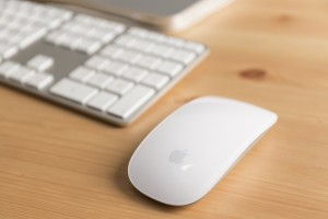 Detailaufnahme einer modernen Computertastatur und der dazugehörigen Mouse in weiß von Apple.