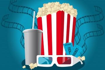 Grafik zum Thema Kino - man sieht eine rot-weiß gestreifte Tüte mit Popcorn, einen Getränkebecher, eine 3D-Brille un Eintrittskarten.