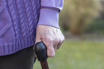 Bild einer Seniorin, im Bildausschnitt sieht man die Hand der alten Dame, die sich beim Gang über eine Wiese auf einen Spazierstock stützt.