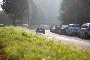 Blick über eine grüne Wiese auf eine Straße im Sonnenlicht, auf der mehrere Autos fahren.