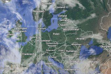 Ausschnitt aus einem Europa-Satellitenbild von Google Maps